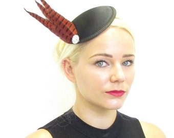 Red Black Silver Pheasant Feather Fascinator Headpiece Vintage 1920s Races V53