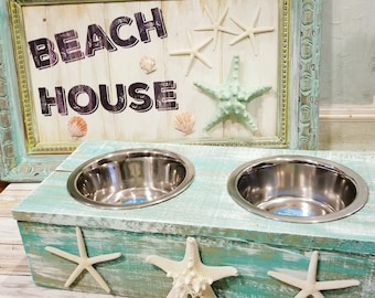 Beachy rustic Wood Pet Bowls with starfish