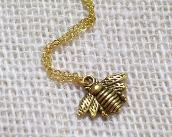 Antiqued Gold Plated Bee Pendant Necklace, Insect Jewelry, Bee Jewelry