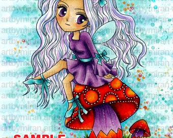 Kids Coloring Book, Digi Stamp, Coloring page, little fairy sitting on mushroom illustration, instant download, anime, manga, chibi