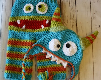 Striped Monster Baby Hat and Pants - Baby Monster Pants and Hat Set - Monster Face Pants - Baby Costume Pants - by JoJo's Bootique