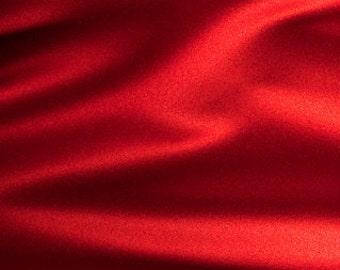 Blood Red Satin Fabric FQ - Bridal Satin - Firm Texture