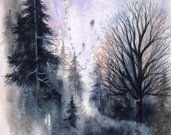 TREES WATERCOLOR  Landscape Fine Art watercolor giclee print, 11 x 14.