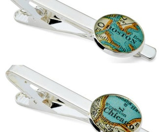 Tie Clip Bar Custom Map Your Choice Vintage Atlas Tie  Fob Tack  Personalized  For your Groom or Best Man Wedding Father's Day Graduation