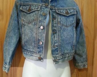 Vintage 80s Cropped Stonewash Acid Wash Denim 3/4 Sleeve Jean Jacket Size XS/S
