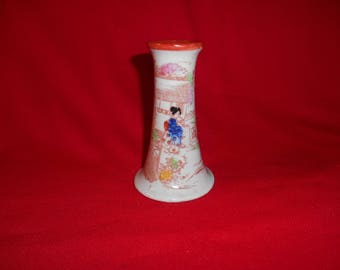 """One (1), 5"""" Tall, Kutani, Geisha Girl, Porcelain, Candle Holder/Vase."""