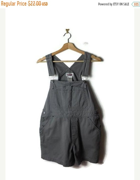 on-sale-grey_gray-cotton-overalls-bib-shorts-_all-in-one-carpenter_farmer_gardening by etsy