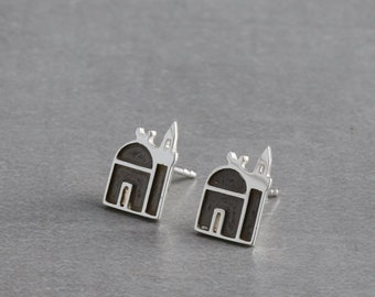 Sterling silver jewelry, handmade silver earring, silver stud earrings, Istanbul jewellery, Valentine's gift, gift for mom, anniversary gift