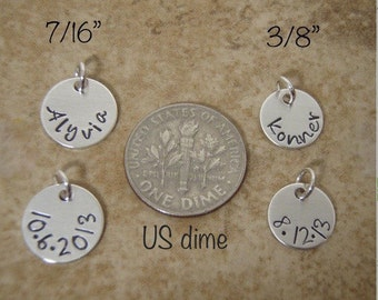 Tiny name charm - Tiny Date charm - Small, Dainty name pendant - Sterling silver personalized charm - Photo NOT actual size