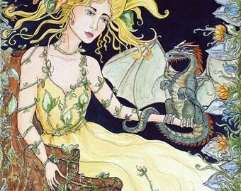 Impression jet d'encre Dragon et la nymphe des bois fée Fantasy Art par Rebecca Sarah FFAW