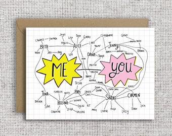 L Word Chart | Me --- You, Anniversary card, love, valentine, valentines day, gal pal, girlfriend card, lesbian, lgbt, bi, bisexual,