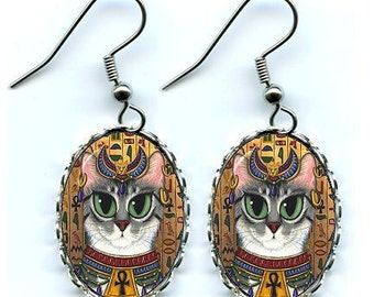 Bast Cat Earrings Goddess Egyptian Cat Bastet Fantasy Cat Art Cameo Earrings 25x18mm Gift for Cat Lovers Jewelry