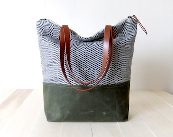 Zippered Tote Bag - Herringbone Tweed - Waxed Canvas Base in Olive Green - Leather Handles in Brown - Natural Lining - Shoulder Bag