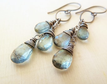 Moss Aquamarine silver earrings. Dangle earrings. March Birthstone. Wire wrapped. Drop earrings. Artisan silver earrings.