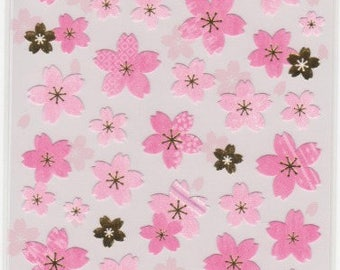Sakura Stickers - Cherry Blossom Stickers - Gold Trim - Mind Wave Stickers - Reference A4182-83
