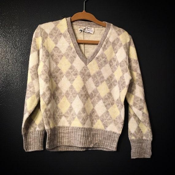 Vintage Pandora Pixies Toddler Size 4T Luxury-Spun Argyle Orlon Unisex Children's Sweater - Vintage Toddler Sweater