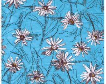 HALF YARD Yuwa - White Paris Daisies and Dots on Aqua Blue - Suzuko Koseki - Japanese Import Fabric - Aqua and black