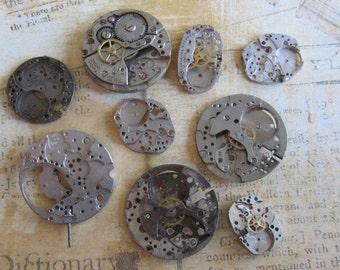 Featured - Steampunk supplies - Watch movements - Vintage Antique Watch movements Steampunk - Scrapbooking t66