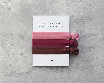 Rosewood / Mulberry / Auburn – Bridesmaid Proposal Gift – Help Me Tie The Knot – Will You Be My Bridesmaid Gift –Hair Ties