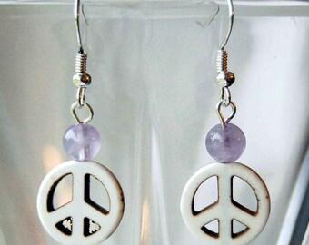 Peace Sign n Gemstone Earrings - Choice of Colors, Hippie Dangle Earrings, Groovy Retro Earrings, 1960s Style Earrings