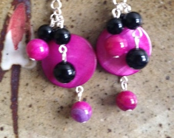 Pink and black mother of pearl earrings