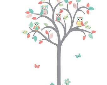 Owl tree wall decal, Nursery Wall Decal, Owl Nursery Wall Art, Tree wall decal, owl nursery decor, Limeade Design, Grey Tree