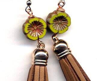 Tassel Earrings, Trendy Tassel Earrings, Surgical steel Earrings, Flower Earrings, Floral Tassel Earrings, Green And Brown Earrings
