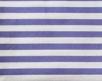 Lilac & White Yarn Dyed Stripe - 10oz cotton/lycra knit fabric - 95/5 cotton/spandex jersey knit - 3/8 Inch Stripe - By The Yard
