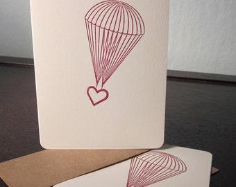 Fallschirm Herz - 12 Pack Gocco Siebdruck Karten