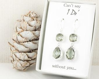 Long Charcoal Silver Teardrop Earrings, Charcoal Wedding Jewelry, Grey Silver Earrings, Bridesmaid Earrings, Charcoal Bridal Accessories