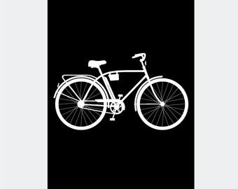 Scandinavian Vintage Bike Art Print in Black - Bicycle Scandi Poster Print