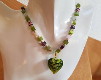 Necklace with Murano glass beads and heart pendant