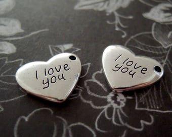 5 I love you Charms - Wedding - Engagement - Keepsake - Valentine - Silver Tone