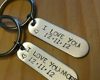 Hand Stamped Personalized Couples Keychain - I Love you - I Love you More Keychain  - Wedding Gift - Anniversary Gift -