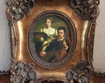Sale Antique European Oil Painting Portrait Italian Man & Woman Playing Music Gold Baroque Frame