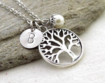 Tree Necklace, Initial Necklace, Travel Necklace, Handstamped Necklace, Best friend Gift, Handmade
