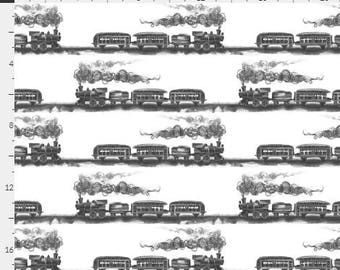 All aboard One Curtain - Blackout lining optional - black & white trains, vintage train toile, baby room, nursery curtains, train tracks