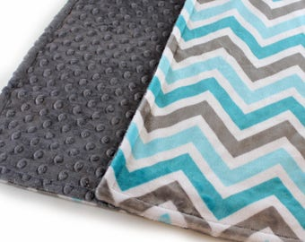 Chevron Minky Baby Blanket, Teal Gray Baby Blanket, Baby Shower Gift, Baby Boy - Ready to Ship - 29 x 35 in