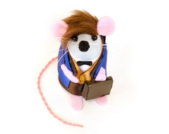 Newt Scamander Mouse - Fantastic Beasts Harry Potter inspired collectable art rat artists mice cute soft sculpture toy stuffed plush doll