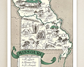 MISSOURI MAP PRINT - vintage pictorial map print - housewarming or wedding gift idea - size & color choices - can be personalized - wall art