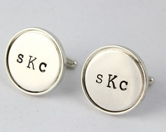 Father's Day Gift for Dad - Monogram Cufflinks - Initials Cufflinks - Custom Men's Cuff Links - Shirt Fasteners - Sterling Silver Cufflinks