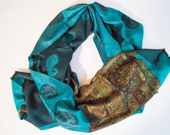 Silk and cotton Pashimna and cotton scarf/women's Shawl Woman (76 x194) cm