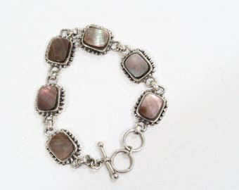 Brown mother of pearl sterling chain and link bracelet with toggle