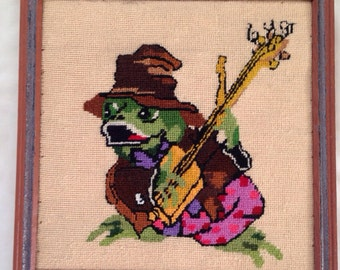 Vintage Frog Musician Needlepoint Wall Hanging
