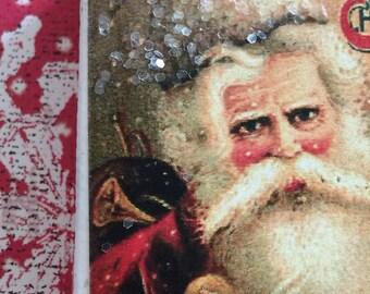 "Vintage Old Workd Style Santa Christmas Art Glitter Canvas-2"" x 2"""