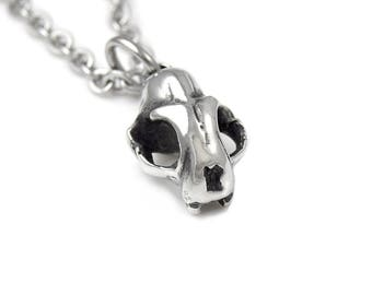 Tiny Cat Skull Charm Necklace in Polished Pewter Kitty Pendant Jewelry