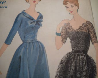 Vintage 1950's Vogue 4012 Special Design Dress Sewing Pattern Size 12 Bust 32