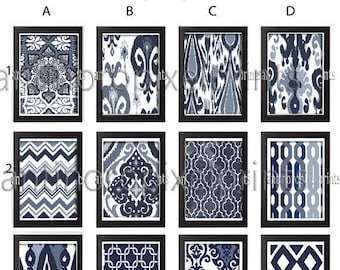 Ikat and Geometric Patterns Set of 12 - Art Prints (Featured in Shades of Deep Blue ) Naval Blue Ikat Wall Art (Unframed) #277851804