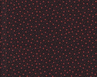 Black With Rust Stars And Dots Cotton Material Thimbleberries By RJR Fabrics 1 Yard