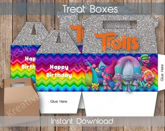 Trolls Big Treat Boxes Trolls Big Treat Boxes Trolls Treat Favors Trolls Party Printables Trolls Theme Birthday Party - INSTANT DOWNLOAD